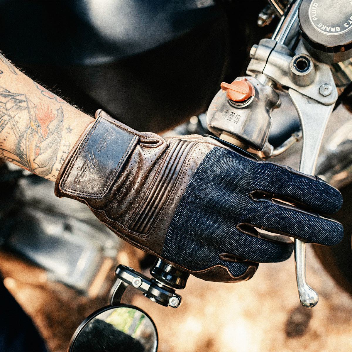 Denim & Leather Motorcycle Gloves • Brown