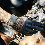 Load image into Gallery viewer, Denim & Leather Motorcycle Gloves • Brown