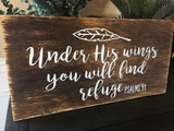 Scripture Art- Custom Wood Sign Psalms 91 - ABreezyCreation