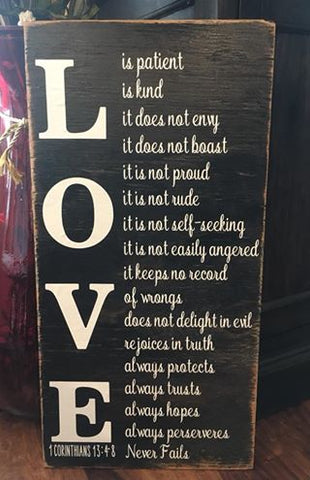 Love Never Fails Wood Sign 1 Corinthians 13,Friendship wood sign gift, wall art, girlfriends, scripture, bible, church, bible study, pray, life, Jesus, God, Proverbs- ABreezyCreation