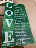 Bible Art, 1 Corinthians 13- Love Is Patient rustic Sign (green)