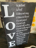 1 Corinthians 13- Love Is Patient rustic Sign (Black)