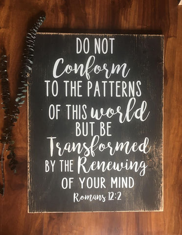 Romans 12:2 Rustic Scripture Art