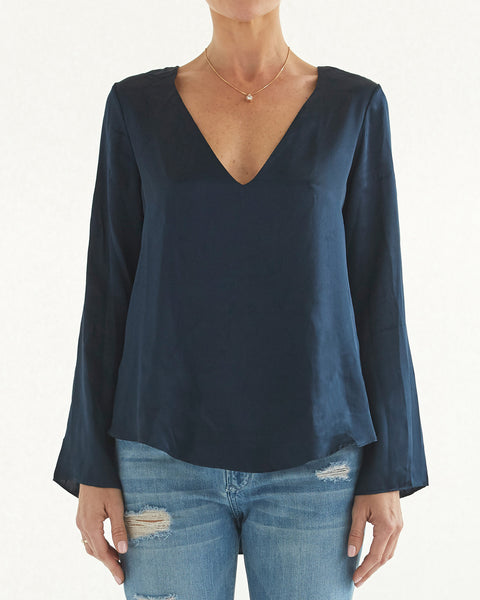 Lauren Deep V Silk Blouse
