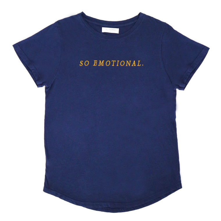 "***NEW*** ""SO EMOTIONAL."" embroidered Tee"