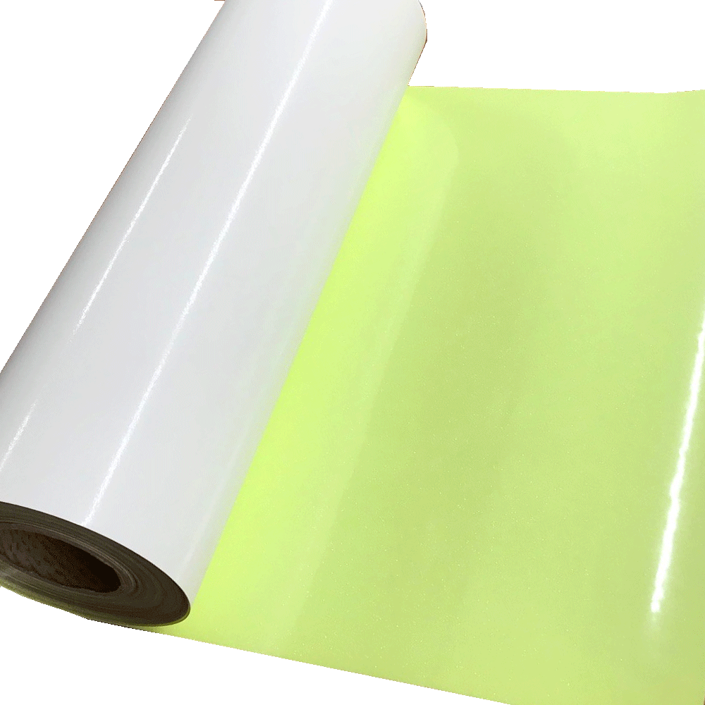 "Glitter, Rainbow Neon Yellow Heat Transfer Vinyl 19"" HTV"