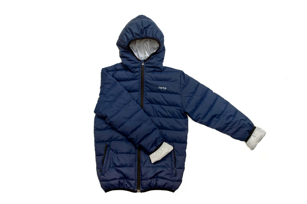 Norte Davy Jones Kids Jacket in Navy. Eco-friendly, cruelty free. Australian owned and designed jackets.