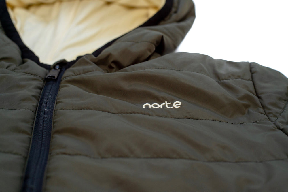 Norte Evergreen Kids Jacket in Khaki. Norte. Norte Wear. Bamboo collection, eco-friendly and cruelty free.