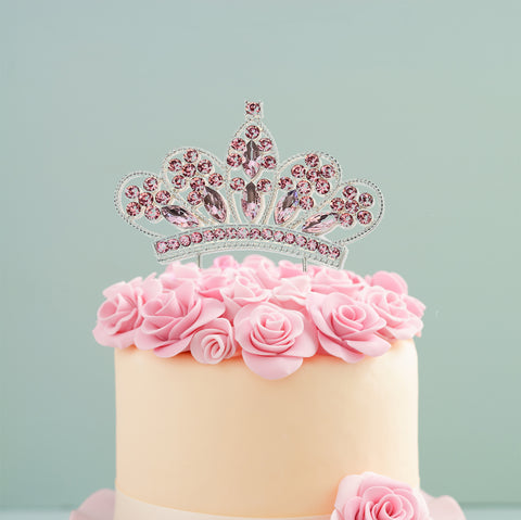 Cake Topper Diamante Pink Crown