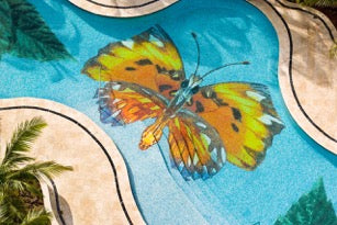 custom butterfly glass mosaic for pool