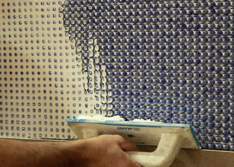 mosaic glass tile backsplash installation photo ref. 3