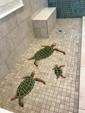turtle mosaics in shower