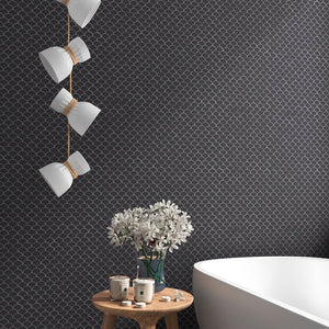 Matte Dark Grey, Fish Scale Mosaic - Glass Tile