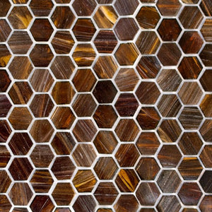 Copper Blast, Hexagonal | ABG270H | Mosaic Glass Tile