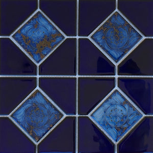 "AMBON-6 - Royal Blue Akron, 6"" x 6"" Deco - Fujiwa Porcelain Pool Tile"