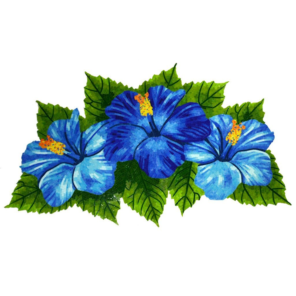Hibiscus Trio Blue G Htb Glass Pool Mosaic By Aquablu Mosaics