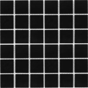 "CEL-214 - Fujiwa Black Glossy, 2"" x 2"" - Porcelain Pool Tile"