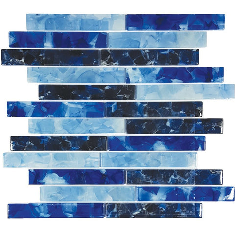 "CETFLWGBLEND2C - Aquatica Blues Blend, 1"" x 6"" - Glass Tile"