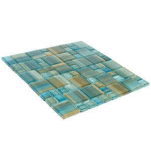 Aquamarine Brush, Mixed - Glass Tile