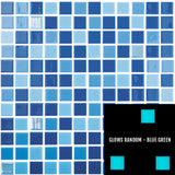 "BLUE FIRE - Fireglass 106, 107, 800 - Blue Blend, 1"" x 1"" - Glass Tile"