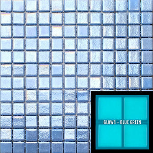 "FOTOLUMI ANTI - Fireglass 106 Slip Resistant - Dark Blue, 1"" x 1"" - Glass Tile"
