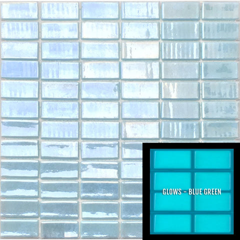 "FOTOLUMI2 1X2 - Fireglass 107 - Light Blue, 1"" x 2"" - Glass Tile"