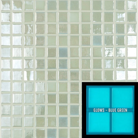 "FOTOLUMI3 - Fireglass 409 - White, 1"" x 1"" - Glass Tile"