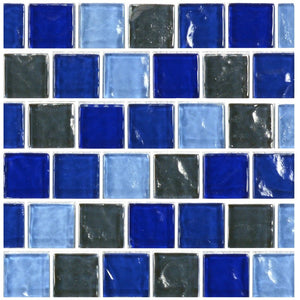 "GA62323B2 - Blue Charcoal Blend, 1"" x 1"" - Glass Tile"