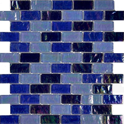 "Blue Blend, 1"" x 2"" - Glass Tile"