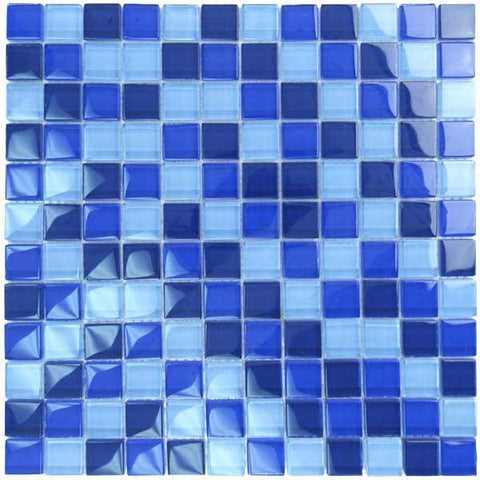 "Cobalt Blue Blend, 1"" x 1"" - Glass Tile"