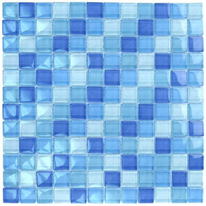 "Turquoise Cobalt Blue Blend, 1"" x 1"" - Glass Tile"