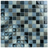 "Black Charcoal Gray Taupe Blend, 1"" x 1"" - Glass Tile"
