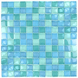 "Turquoise Blue Blend, 1"" x 1"" - Glass Tile"