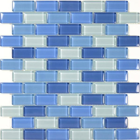 "Turquoise Cobalt Blue Blend, 1"" x 2"" - Glass Tile"