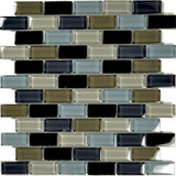 "Black Charcoal Gray Taupe Blend, 1"" x 2"" - Glass Tile"