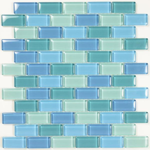 "Turquoise Blue Blend, 1"" x 2"" - Glass Tile"