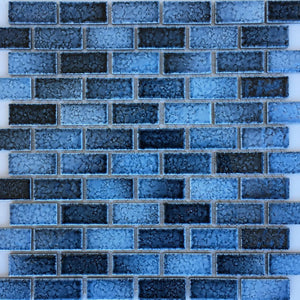 "GLASSTEL-31 - Fujiwa Aqua, 7/8"" x 1-7/8"" - Porcelain Pool Tile"