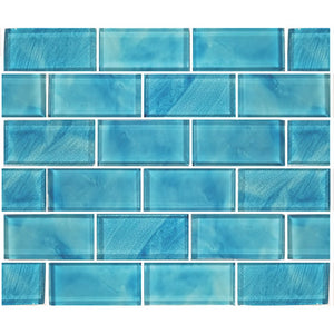 "Aqua, 2"" x 4"" - Glass Tile"
