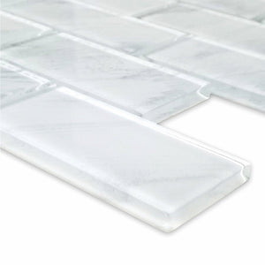 "Stratus White, 2"" x 4"" - Glass Tile"