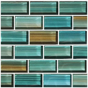 "Aqua, 1"" x 2"" - Glass Tile"