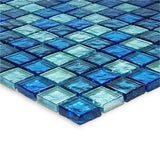 "Blue Blend, 1"" x 1"" - Glass Tile"
