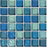 "GG82323B18 - Blue Blend, 1"" x 1"" - Glass Tile"