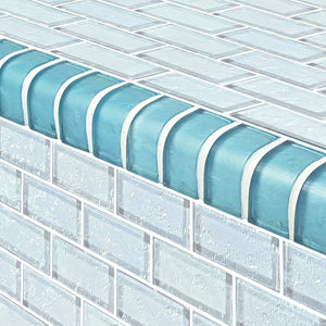 Aquamarine Trim Tile for Pools | TRIM-GG82348T9 | Glass Mosaic Tile