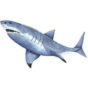 Great White Shark (Special Order) - Pool Mosaic - NS1211 - Artisry in Mosaics Custom Mosaics