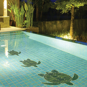 Green Sea Turtle | GT7-10 | Pool Mosaic by Custom Mosaics