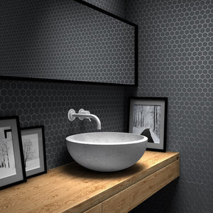 Matte Dark Grey, Flat Hexagonal - Glass Tile