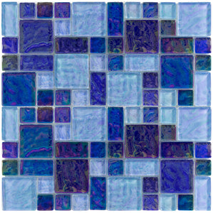 IR063BLUE1212 Blue Blend, Mixed - Glass Tile