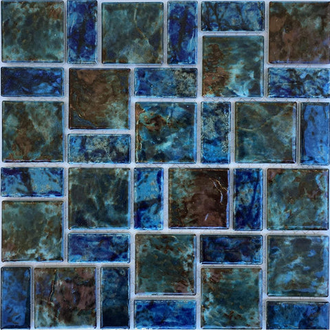 LEGACY-97 - Fujiwa Blue-Red Mix, Random Block - Porcelain Pool Tile