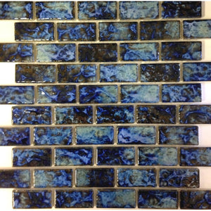 "LICATA-71 - Blue Blend, 1-1/8"" x 2-1/4"" - Porcelain Pool Tile - Fujiwa"
