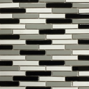 "LOMBO-885 - White-Gray-Black, 1/2"" x 3-1/4"" - Porcelain Pool Tile - Fujiwa"